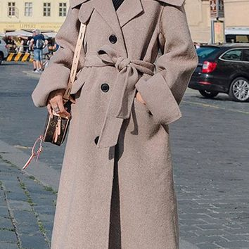 New Camel Buttons Pockets Sashes Slit Turndown Collar Wool Coat