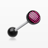 Zebra Stripe Logo Acrylic Barbell Tongue Ring