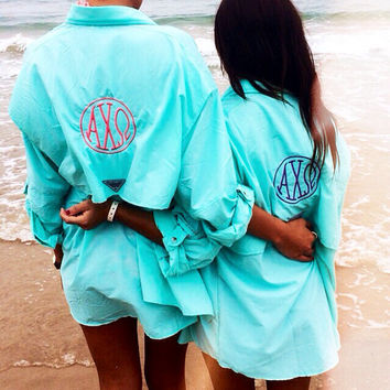 Alpha Chi Omega Monogram Columbia Fishing Long Sleeve Shirt