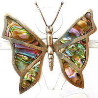 Sterling Silver Butterfly Brooch Inlay Abalone Shell Hecho En Mexico Vintage Pin
