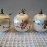 Retro Betsey Clark Christmas Ornaments 1976 Vintage Satin Holiday Home Decor