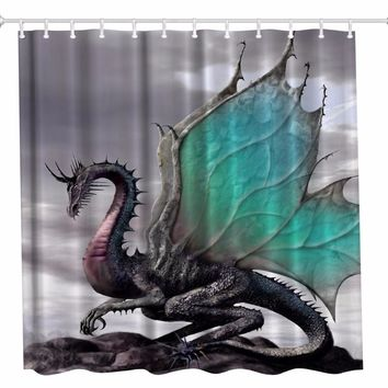 Polyester Dragon Bathroom Shower Curtain