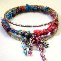 Silk Wrapped Bangle Bracelet Set Bohemian Jewelry Gypsy Jewelry