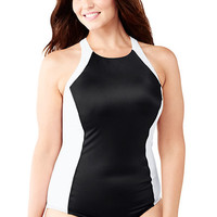 Women's AquaSport High-neck One Piece Swimsuit from Lands' End