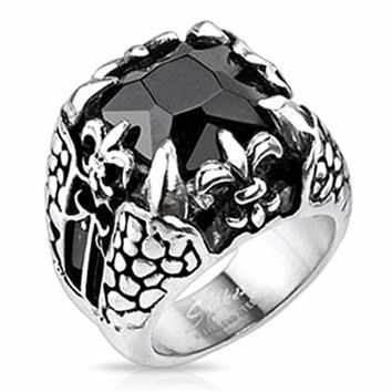 Faceted Onyx Square Gem Royal Fleur De Lis Dragon Claw Cast Ring Stainless Steel