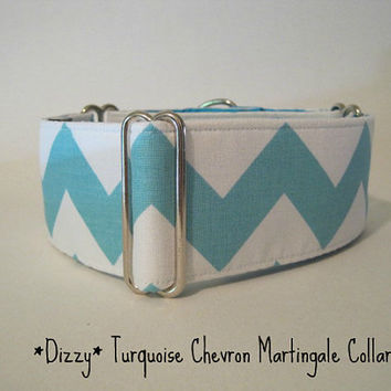 2 inch Chevron Martingale Collar, Chevron Dog Collar, Greyhound Martingale Collar, Turquoise and White