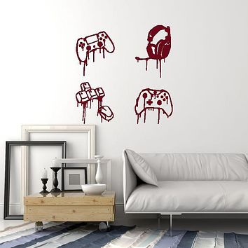 Vinyl Wall Decal Gamer Stuff Joysticks Headphones Keyboard Mouse Stickers Mural (ig5747)