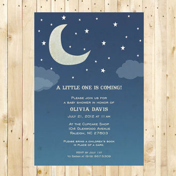 Moon Stars Baby Shower Invitation DIY Digital Printable