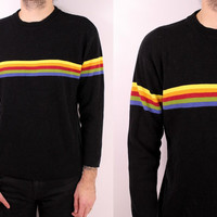 Vintage 90s - Black & Rainbow Striped Light Knit Long Sleeve Sweater - Mens Womens Unisex - Grunge - Unionbay