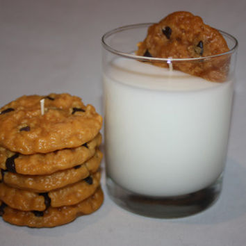 Milk and Cookies Candle Set, Highly Scented Chocolate Chip Cookie Candle, Unique Candle, Fake Food