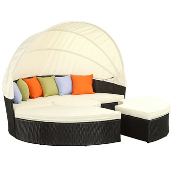 Quest Canopy Outdoor Patio Daybed in Espresso White