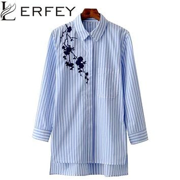 Women Long Sleeved Embroidered Shirt Tunic