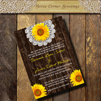 BARNWOOD SUNFLOWER Invitation Doily Flower Sunflower invitations Country wedding Rustic Bridal Shower Birthday invitations Fall Autumn