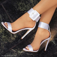 New Fashion Women Sandals Hot Buckle Ankle Strap Pump High Heels Shoes 7 Colors Plus size 34-43 Gladiator Sandals Women