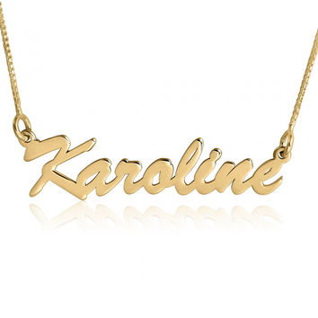 Gold Plated Necklace Name Pendant Gold 24K Name Chain Name Necklace Gold Plated Necklace with Name Gold Plated Necklace Name Pendant Chain