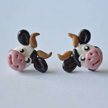 Black and white cow earrings,Animal jewelry,cute cow stud,funny bull post,tiny earstud,unusual piercing,unique ear stud,cute Farm Animals