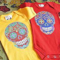 India Mendhi Skull Tattoo Romper Yellow Red Bodysuit Trendy baby clothes.  Hippie Batik look 3 or 6 months new baby shower gift.
