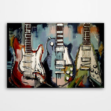 Guitar painting, Music art, Modern guitar art, Gift for musician, Original abstract blue, green, red guitar painting on canvas by Magier