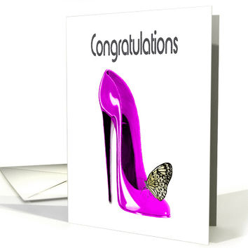 Congratulations, with Pink Stiletto Shoe and Butterfly Design card