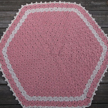 "Pink and Off White Flower Stitch Cotton Crochet Thick Rug Pentagon 35"" READY to SHIP"