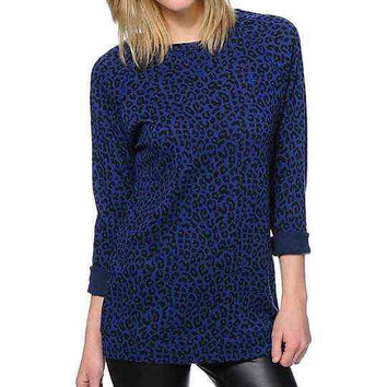Obey Blue Leopard Print Echo Mountain Crew Neck Sweatshirt