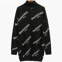BALENCIAGA autumn and winter new popular logo English letter lovers lengthen turtleneck sweater tops.