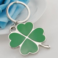 Stainless Green Leaf Keychain