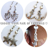 Heart Summer Beach Nautical Antique Silver Earrings (Mermaid, Anchor, Octopus, Starfish -- 1 choice)