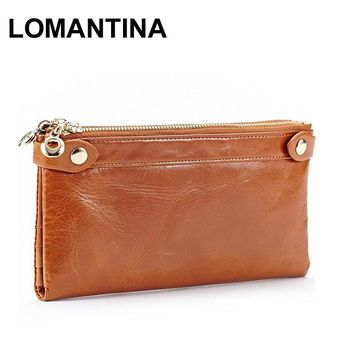 Fashion Long Design Card Wallet For Women Genuine Leather Female Coin Purse Double Zipper Women Wallets Fashion Clutch Bags