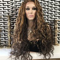 """Honey Blond Loose Waves Hair Lace Front Wig 28"""""""