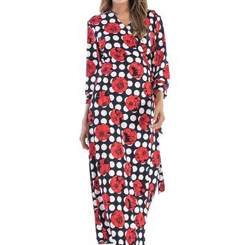 Rose Flower Print Maxi Dress