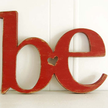 word sign  wooden sign BE rustic red primitive sign country sign Red