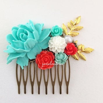 Red Wedding Hair Comb Bridal Headpiece Turquoise Teal Aqua Coral Red Collage Flower Floral Leaf Branch Vintage Style Romantic Bohemian