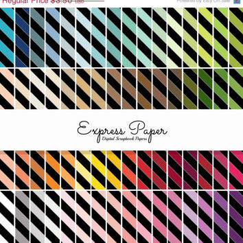 SALE 64 Black Diagonal Stripe Pattern Digital Papers- 12x12 and 8.5x11 included-Digital Paper Rainbow includes dark, bright, neutral and pas
