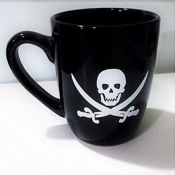 Pirate Cup, Gothic Mug, Pirate Party, Gift for Groom, Coffee Lover Gift, Gothic Gift, Gift for Him, Valentines Day Gift, Number One Dad