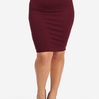 Burgundy Textured Skirt with Chain
