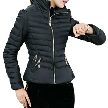 SAF-Winter Women's Coats Slim Office Epaulet Zippers Ladies Jackets Coat 6-COLORS