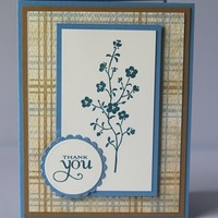 Blue Flowers Hand Made Thank You Greeting Card