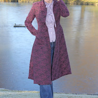 Knee length woman coat, buttonless coat, coat with tails