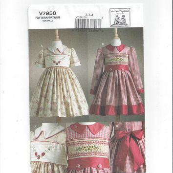 Vogue 7958 Pattern for Girl's Smocked Dress, Transfer, Size 2-3-4, FACTORY FOLDED, UNCUT, Teresa Layman, From 2004, Home Sew, Heirloom