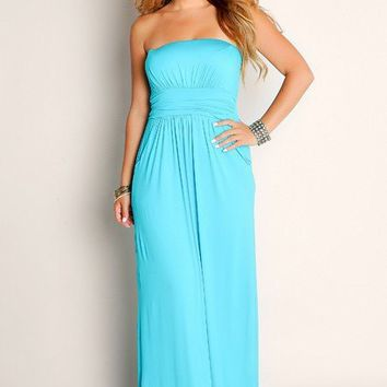 Sexy Aqua Blue Life's A Beach Flowy Empire Waist Tube Top Maxi Dress