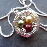 Autumn Bird Nest Necklace Birds Nest Pendant Pearls Green Yellow Red Wire Wrapped