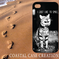 Apple iPhone 4 4G 4S 5G Hard Plastic or Rubebr Cell Phone Case Cover Original Trendy Stylish Black and White Smiling Cat Quote Design