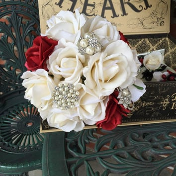 Black Red Bouquet - Red Ivory True Touch Rose Bouquet - Bling Bouquet - Red Bridesmaid Bouquet - Pearl Brooch Bouquet - Rose Bouquet