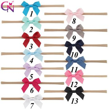 13 Pcs/lot Plain Petersham Ribbon Bow Nylon Headband With Elastic For Girls Kids Teens Handmade Soft Hairband Hair Accessories