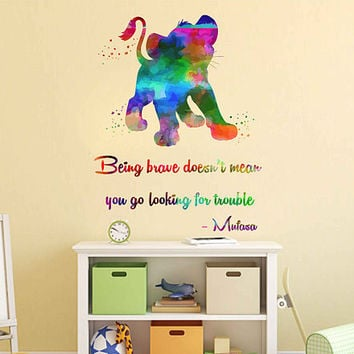 kcik2037 Full Color Wall decal Watercolor Character Disney Sticker Disney children's room The Lion King quote