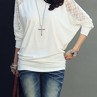'The Naleighna' Loose Bat Dolman Long Sleeve Lace Blouse T-shirt