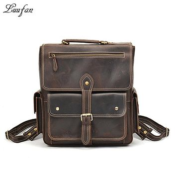 Men's crazy horse leather rucksack Laptop genuine leather backpack thick cow leather travel bag functional travel bag