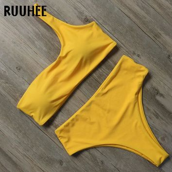 RUUHEE One Shoulder Bikini Set Swimwear Women Swimsuit 2018 Push Up Bikini Padded Bathing Suit Female Beachwear Swimming Wear