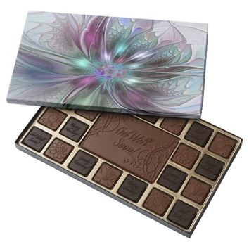 Colorful Fantasy, abstract and modern Fractal Art Assorted Chocolates